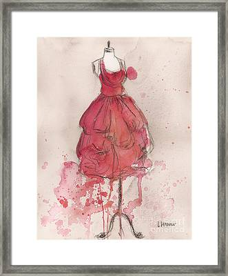 Coral Pink Party Dress Framed Print