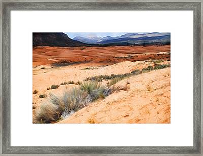 Coral Pink Sand Dunes Framed Print by Donna Kennedy