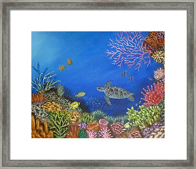Framed Print featuring the painting Coral Reef by Amelie Simmons