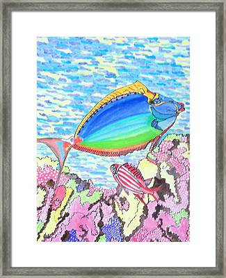 Framed Print featuring the painting Coral Reef by Connie Valasco
