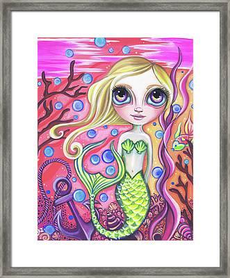Coral Reef Mermaid Framed Print by Jaz Higgins