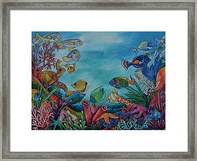 Framed Print featuring the painting Coral Reef by Patti Schermerhorn