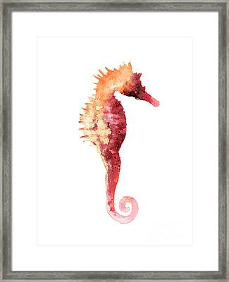 Coral Seahorse Watercolor Painting Framed Print by Joanna Szmerdt