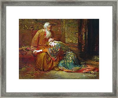 Cordelia Comforting Her Father Framed Print