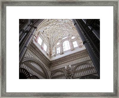 Cordoba Cathedral Ancient Ornate Ceiling Iv Spain Framed Print