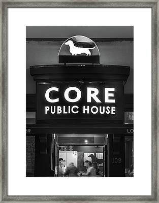 Core Brewery Public House - Downtown Bentonville - Black And White Framed Print by Gregory Ballos