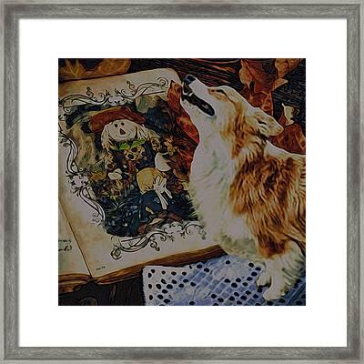Framed Print featuring the digital art Corgi Appreciating Art by Kathy Kelly