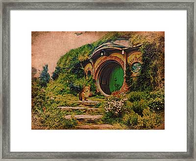 Corgi At Hobbiton Framed Print