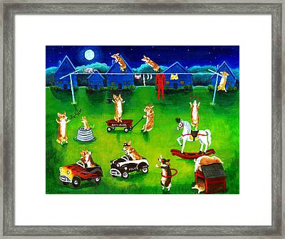 Corgi Backyard Circus Framed Print by Lyn Cook