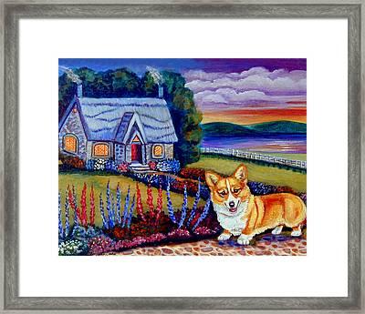 Corgi Cottage Sunset Framed Print by Lyn Cook