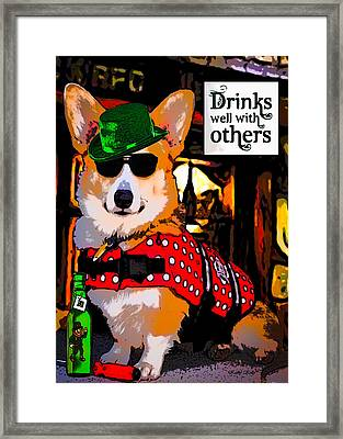 Framed Print featuring the digital art Corgi - Drinks Well With Others by Kathy Kelly