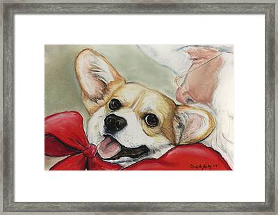 Corgi For Christmas Framed Print