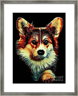 Corgi Portrait Framed Print