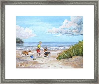 Corgi Seaside Play Framed Print by Ann Becker