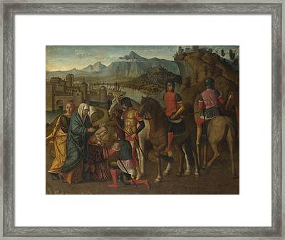 Coriolanus Persuaded By His Family To Spare Rome Framed Print by Michele da Verona