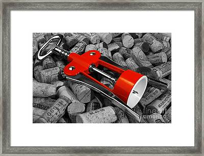 Corks And Classic Bottle Opener Framed Print