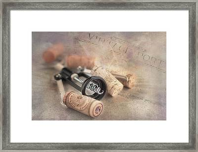 Corkscrew And Wine Corks Framed Print