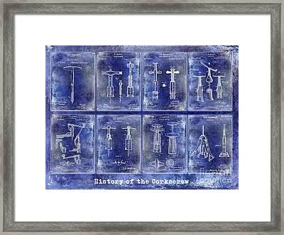 Corkscrew Patent History Blue Framed Print by Jon Neidert