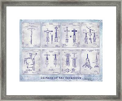 Corkscrew Patent History Blueprint Framed Print by Jon Neidert
