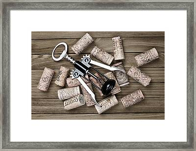 Corkscrew With Wine Corks Framed Print