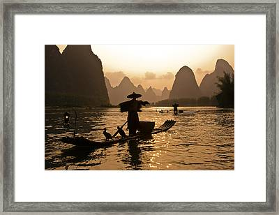 Cormorant Fisherman At Sunset Framed Print