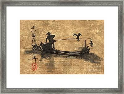 Cormorant Fisherman On The Li River In China Framed Print by Linda Smith