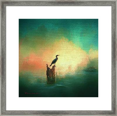 Cormorat Sunset Framed Print by Marvin Spates