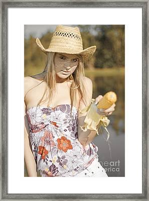Corn Cob Cowgirl Framed Print