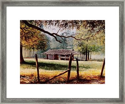 Corn Crib Framed Print