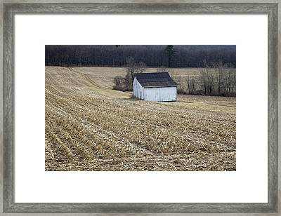 Corn Field Barn Framed Print by John Stephens