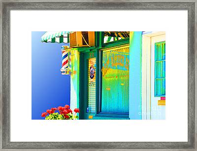 Corner Barber Shop Framed Print by Noel Zia Lee