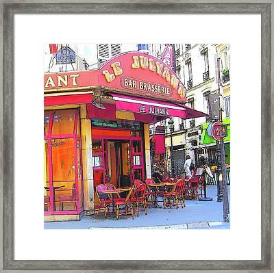 Corner Cafe In Montmartre Paris Framed Print by Jan Matson