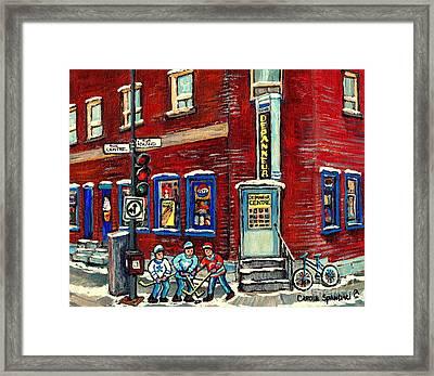 Corner Convenience Store Depanneur Centre Street Hockey Montreal Winter Scene Painting Canadian Art Framed Print by Carole Spandau