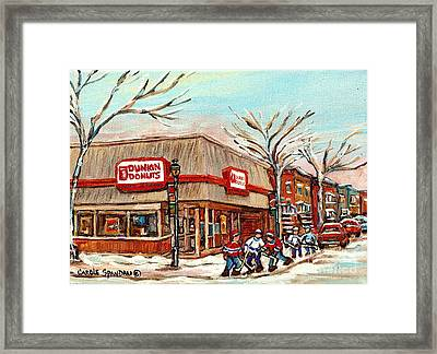 Corner Donut Shop Dunkin Donuts Verdun Street Hockey Montreal Winter Canadian Art Carole Spandau     Framed Print by Carole Spandau
