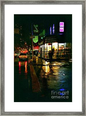 Corner In The Rain Framed Print by Miriam Danar
