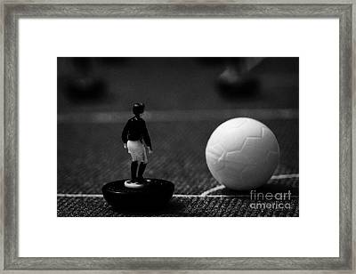 Corner Kick Football Soccer Scene Reinacted With Subbuteo Table Top Football Players Game Framed Print