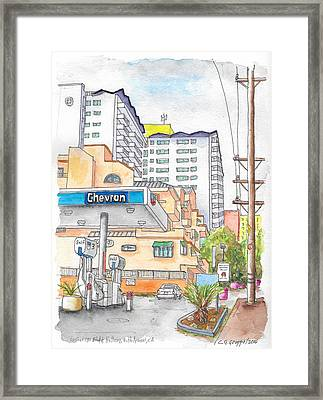 Corner La Cienega Blvd. And Hallway, Chevron Gas Station, West Hollywood, Ca Framed Print