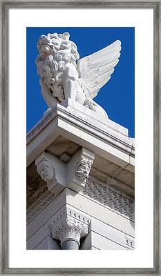 Corner Lion Framed Print by Katie Beougher