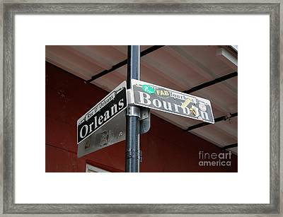 Corner Of Bourbon Street And Orleans Sign French Quarter New Orleans Framed Print