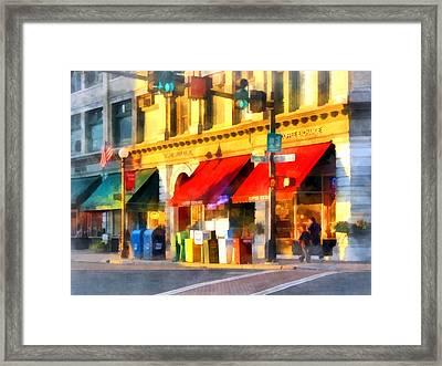 Corner Of Center And Merchant Rutland Vt Framed Print by Susan Savad