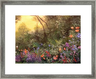 Corner Of The Garden Framed Print by Connie Tom