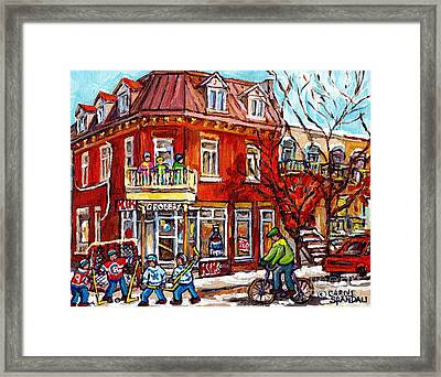 Corner Store Paintings Depanneur Hockey Art Canadian Winter City Scenes Carole Spandau               Framed Print by Carole Spandau