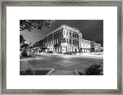 Corner View In Black And White- Downtown Bentonville Arkansas Town Square At Night Framed Print