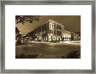 Corner View In Sepia- Downtown Bentonville Arkansas Town Square At Night Framed Print