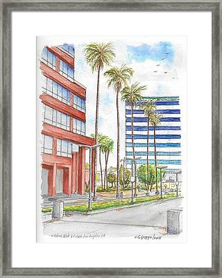 Corner Wilshire Blvd. And Curson, Miracle Mile, Los Angeles, Ca Framed Print by Carlos G Groppa