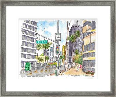 Corner Wilshire Blvd. And Gale Dr., Beverly Hills, Ca Framed Print by Carlos G Groppa