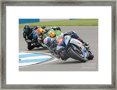 Cornering Motorcycle Racers Framed Print by Peter Hatter