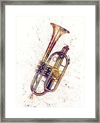 Cornet Abstract Watercolor Framed Print by Michael Tompsett