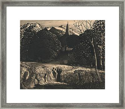 Cornfield And Church By Moonlight Framed Print