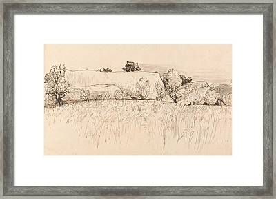 Cornfields With Barn, Shoreham Framed Print
